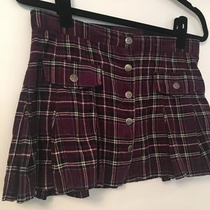 Tripp NYC Plaid Button Front Skirt